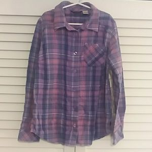 L.L. Bean Girls Purple Fleece Button-up